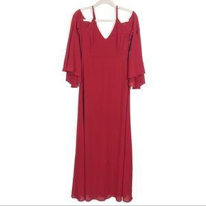 Lulus Glamorous Greeting Red Chiffon Maxi Dress